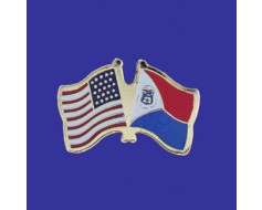 St Maarten Lapel Pin (Double Waving Flag w/USA)