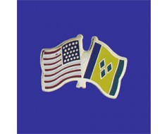St Vincent & the Grenadines Lapel Pin (Double Waving Flag...