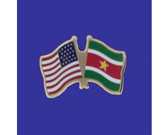 Suriname Lapel Pin (Double Waving Flag w/USA)