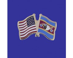 Swaziland Lapel Pin (Double Waving Flag w/USA)