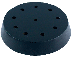 "Black wooden round table base for 4x6"" stick flags, 10 hole"