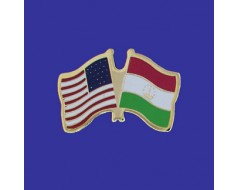 Tajikistan Lapel Pin (Double Waving Flag w/USA)