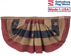 "Patriotic Pleated Fan, 36x64"" Tea Stained Cotton"