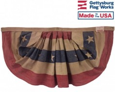 Patriotic Pleated Fan, 3'x6' Tea Stained Cotton