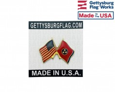 Tennessee State Flag Lapel Pin (Double Waving Flag w/USA)