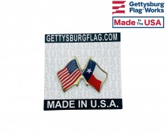 Texas State Flag Lapel Pin (Double Waving Flag w/USA)