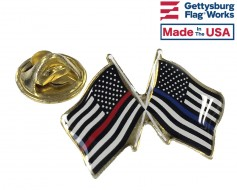 Thin Red Line and Thin Blue Line Flags (Double waving)