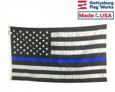 Thin Blue Line Embroidered Flag-3x5'