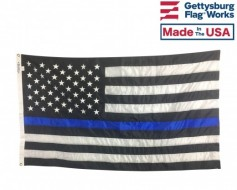 THIN BLUE LINE EMBROIDERED FLAG