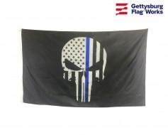 Thin Blue Line Punisher Skull Flag-3x5'