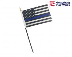 "Thin Blue Line Poly Stick Flag-4x6"""