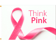 Think Pink Ribbon Flag - 3x5'