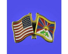 Tibet Lapel Pin (Double Waving Flag w/USA)