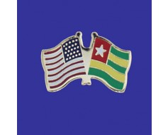 Togo Lapel Pin (Double Waving Flag w/USA)