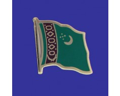 Turkmenistan Lapel Pin (Single Waving Flag)