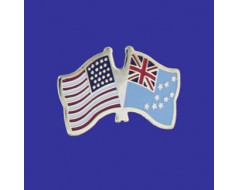 Tuvalu Lapel Pin (Double Waving Flag w/USA)