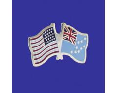 Tuvalu Lapel Pin (Double Waving Flag w/USA)