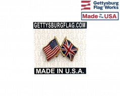 United Kingdom Lapel Pin (Double Waving Friendship with U...