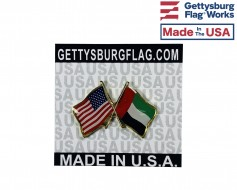 United Arab Emirates Lapel Pin (Double Waving Flag w/USA)
