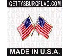 US (double) Lapel Pin (Double Waving Flag w/USA)