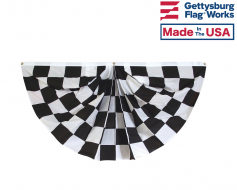 3x6' Black & White Checkered Racing Pleated Fan Bunting
