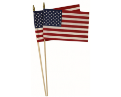 "American Stick Flag, Cotton, Hemmed, 5/16"" Dowel - 12x18"""