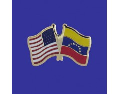Venezuela Lapel Pin (Double Waving Flag w/USA)