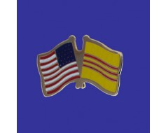 South Vietnam Lapel Pin (Double Waving Flag w/USA)