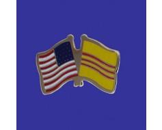 South Vietnam Lapel Pin (Double Waving Flag w/USA)