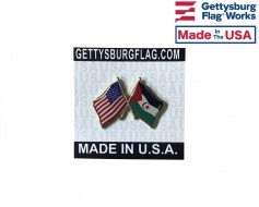 Western Sahara Lapel Pin (Double Waving Flag w/USA)