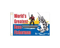 Bass Fisherman Flag - 12x18""