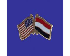 Yemen Lapel Pin (Double Waving Flag w/USA)