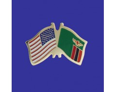 Zambia Lapel Pin (Double Waving Flag w/USA)