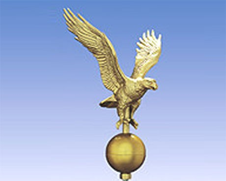 """Eagle on Ball, 12"""" Gold for Telescoping Pole"""