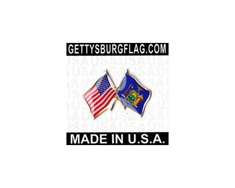 New York State Flag Lapel Pin (Double Waving Flag w/USA)