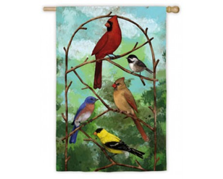 Birds On Arbor Garden Flag