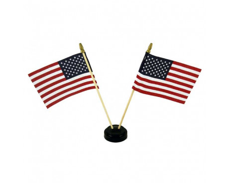 "Black plastic table base for 4x6"" flags, 2 hole with flags"