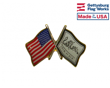 Join or Die Lapel Pin (Double Waving Flag w/USA)