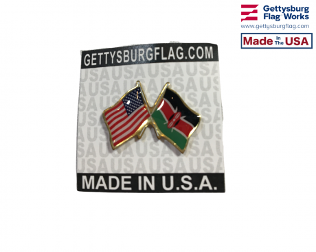 Kenya Lapel Pin (Double Waving with US Flag)