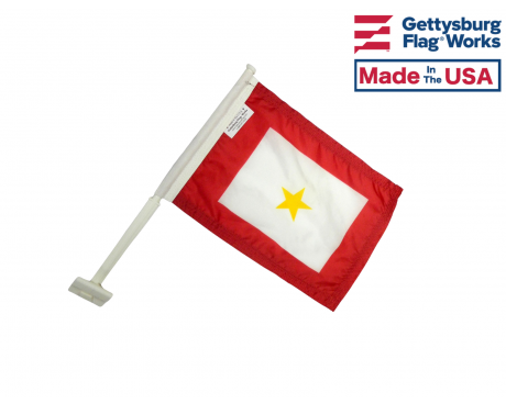 Gold Service Star Car Window Flag - 11x15""