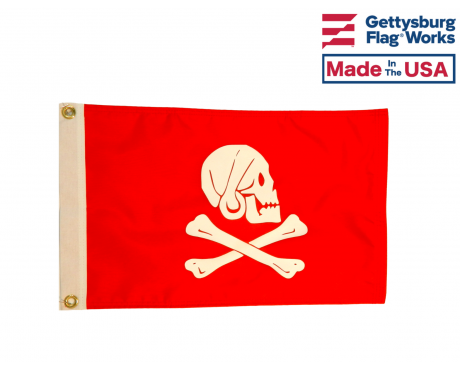 "Henry Every ""RED DREAD PIRATE"" Flag - 12x18"" - Made in USA"