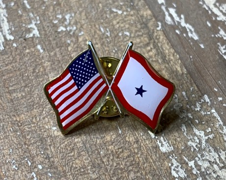 Service Star (1 Blue Star) Lapel Pin (Double Waving with USA)