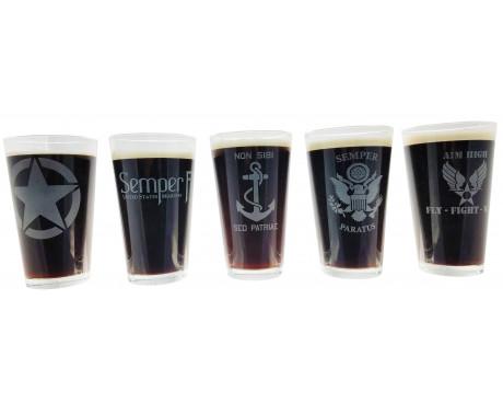 Military Pint Glasses-Set of 5