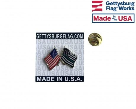 Thin Green Line and US Flag Waving lapel pin
