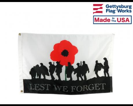 WWI Lest we Forget Poppy Flag