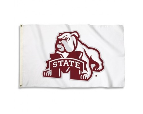 Mississippi State Bulldogs Outdoor Flag - White