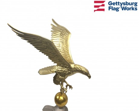 Flying Eagle on Ball Ornament Topper, Gold