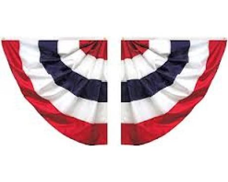 Patriotic Pleated Half Fan Set, Cotton 3' (Five Stripes)