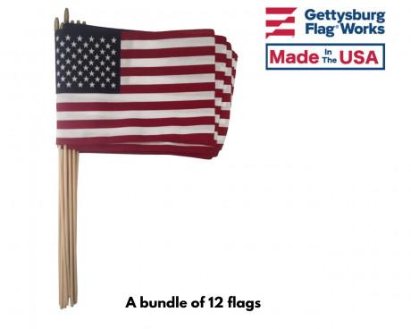 "AMERICAN STICK FLAG-12X18""-1 DOZEN"