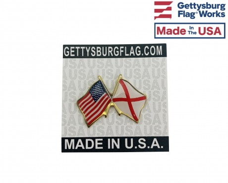 Alabama State Flag Lapel Pin (Double Waving Flag w/USA)